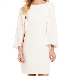 H Halston Cape Sleeve Winter White Sheath Dress